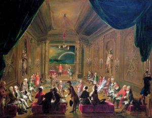 """Wien Mozart in der Loge """"Zur Neugekrönten Hoffnung"""" - Ölgemälde von Ignaz Unterberger."""