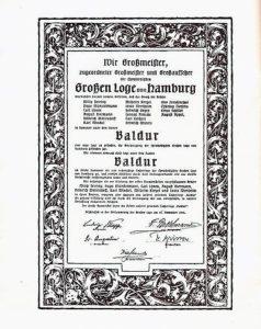 Die Stiftungsurkunde der Freimaurerloge Baldur.