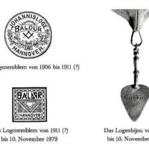 Logenemblem und Logenbijou der Loge Baldur von 1906 - 1979