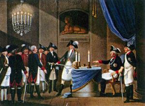 Rituelle Aufnahme des Markgrafen Friedrich von Brandenburg zum Freimaurer durch den Preußenkönig Friedrich II. auf Schloss Rheinsberg im Jahre 1740.