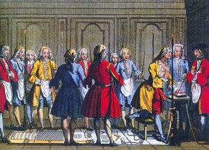 """Szene einer rituellen Aufnahme um 1750; der Aufzunehmende legt seine Hand auf das """"Buch des heiligen Gesetzes"""" und gelobt Verschwiegenheit."""