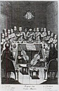 Tafelloge einer französischen Loge um 1743.