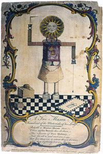 """Symbolisches Schaubild; """"Logenmann"""" aus dem Jahre 1754."""