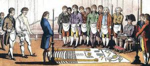 """Initiation eines """"Suchenden"""". Kupferstich, 1745 in Frankreich."""